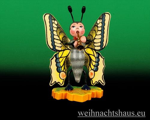 Seiffen Weihnachtshaus - Käfer Schmetterling Flöte - Bild 1