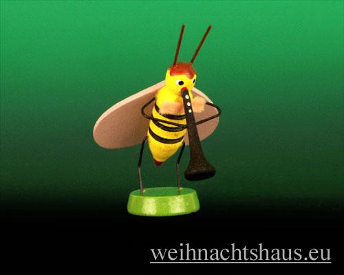Seiffen Weihnachtshaus - Käfer 7 cm Biene mit Klarinette - Bild 1