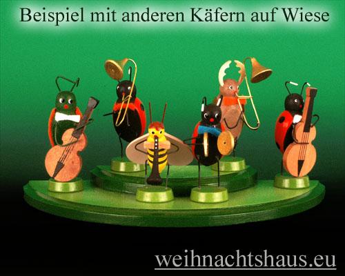 Seiffen Weihnachtshaus - Käfer 7 cm Marienkäfer mit Zugposaune - Bild 2