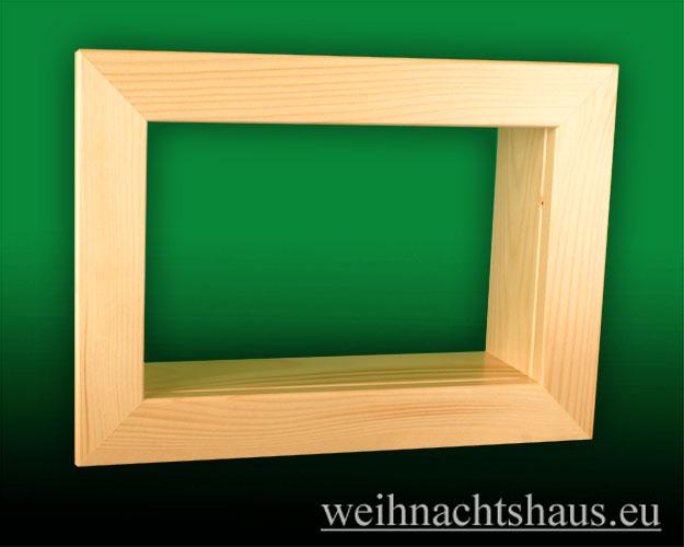 Seiffen Weihnachtshaus - Wandrahmen-Kastenrahmen natur Rahmen aus Holz    B 33 x H 24 cm - Bild 1