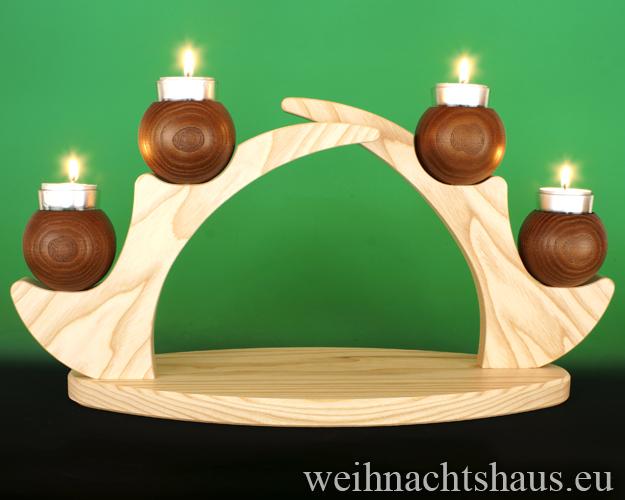 Kerzenständer Holz Teelicht modernener Kerzenhalter Ständer für Kerzen Schwibbogen  ohne Figuren leer Teelichte Erzgebirge Holzständer Holzleuchter