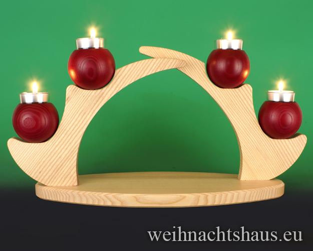 Seiffen Weihnachtshaus - Schwibbogen  ohne Figuren leer Teelichte 45cm rot - Bild 1