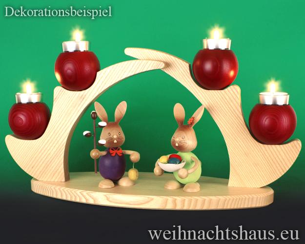 Seiffen Weihnachtshaus - Schwibbogen  ohne Figuren leer Teelichte 45cm rot - Bild 3