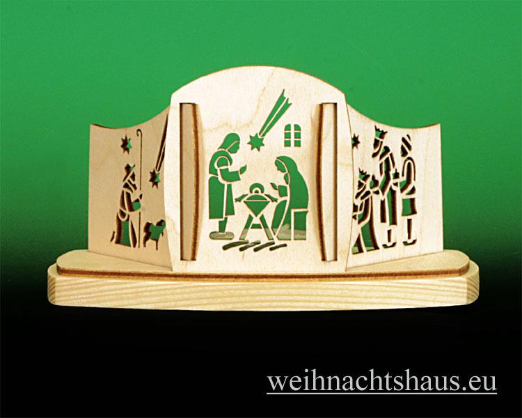 Seiffen Weihnachtshaus - Teelichtleuchter  Kirche mit Kurrende - Bild 1
