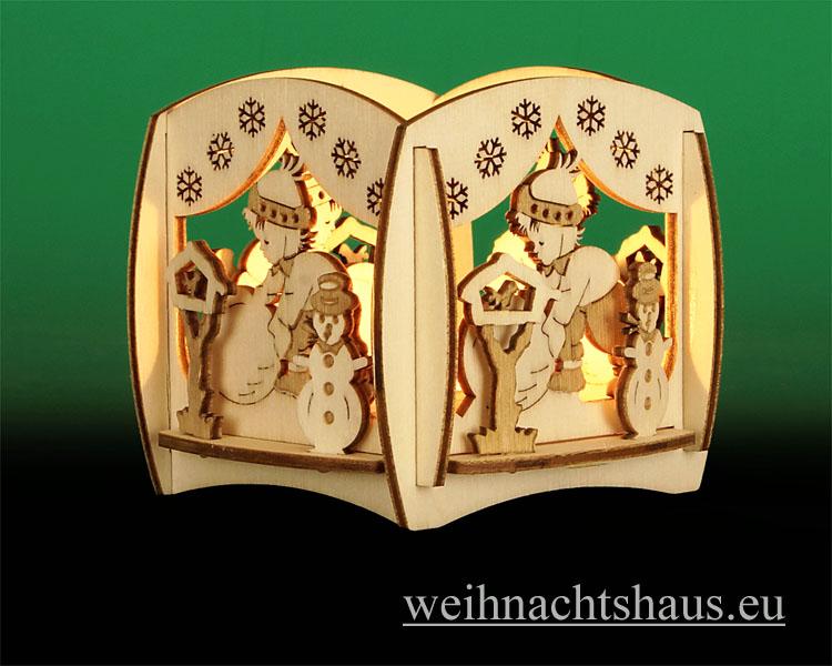 Seiffen Weihnachtshaus - Teelicht Kerzenleuchter Winterzauber - Bild 2