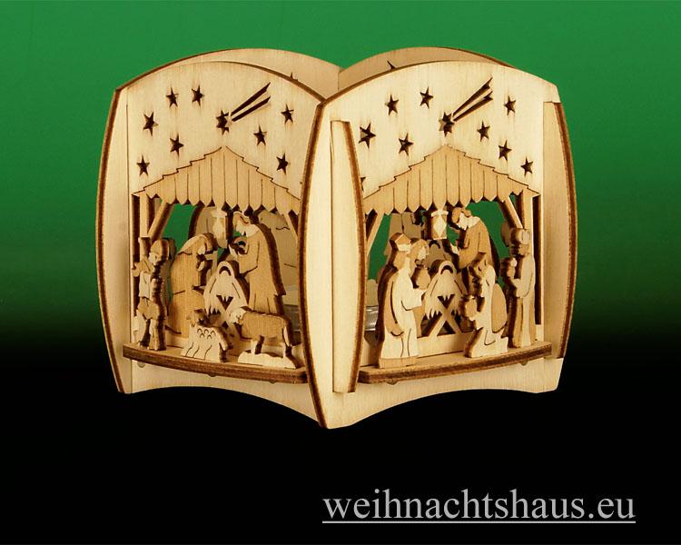 Seiffen Weihnachtshaus - Teelicht Kerzenleuchter Christi Geburt - Bild 1