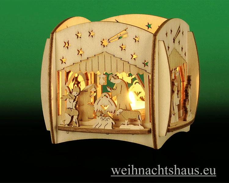 Seiffen Weihnachtshaus - Teelicht Kerzenleuchter Christi Geburt - Bild 2
