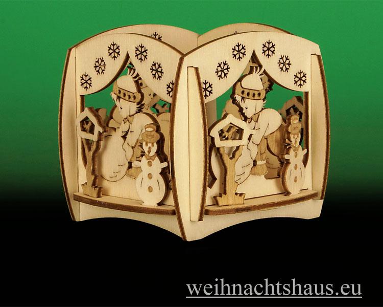 Seiffen Weihnachtshaus - Teelicht Kerzenleuchter Winterzauber - Bild 1
