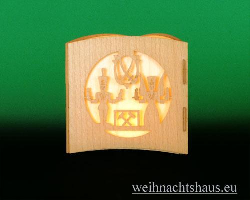 Seiffen Weihnachtshaus -  Teelichtleuchter Motivleuchte 3-seitig  Erzgebirge - Bild 2