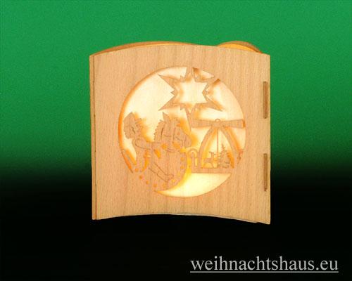 Seiffen Weihnachtshaus -  Teelichtleuchter Motivleuchte 3-seitig  Erzgebirge - Bild 3