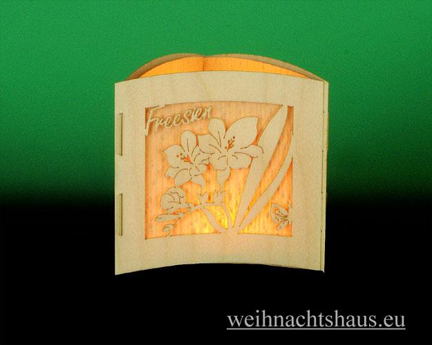 Seiffen Weihnachtshaus -  Teelichtleuchter Motivleuchte 3-seitig Frühlingsblumen - Bild 2