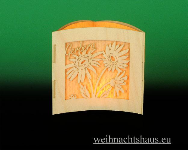 Seiffen Weihnachtshaus -  Teelichtleuchter Motivleuchte 3-seitig Frühlingsblumen - Bild 3