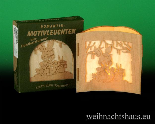 Seiffen Weihnachtshaus -  Teelichtleuchter Motivleuchte 3-seitig Osterhasen - Bild 1