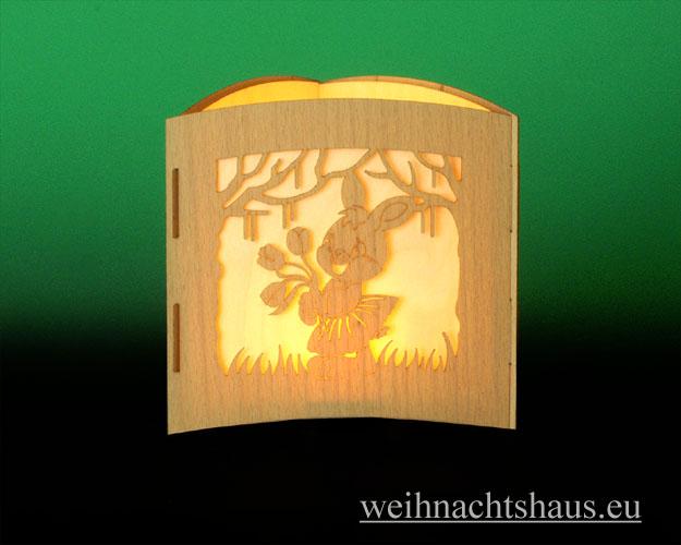 Seiffen Weihnachtshaus -  Teelichtleuchter Motivleuchte 3-seitig Osterhasen - Bild 2
