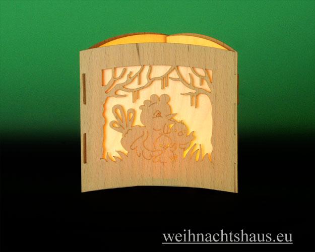 Seiffen Weihnachtshaus -  Teelichtleuchter Motivleuchte 3-seitig Osterhasen - Bild 3