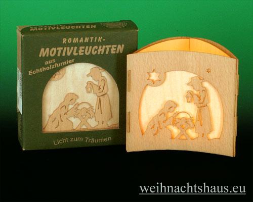 Seiffen Weihnachtshaus -  Teelichtleuchter Motivleuchte 3-seitig   Krippe - Bild 1