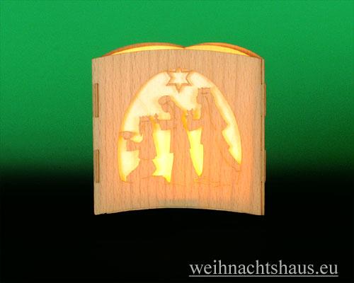Seiffen Weihnachtshaus -  Teelichtleuchter Motivleuchte 3-seitig   Krippe - Bild 2