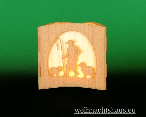 Seiffen Weihnachtshaus -  Teelichtleuchter Motivleuchte 3-seitig   Krippe - Bild 3