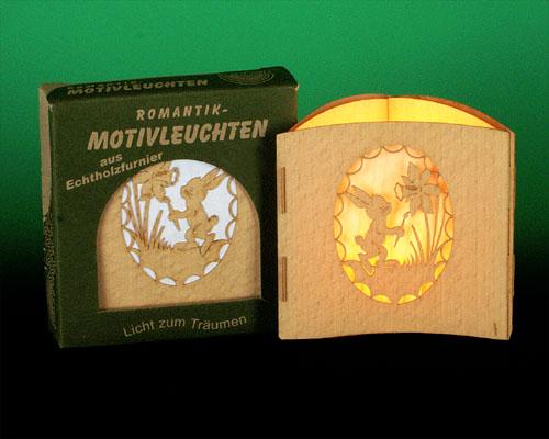 Seiffen Weihnachtshaus -  Teelichtleuchter Motivleuchte 3-seitig Ostern - Bild 1