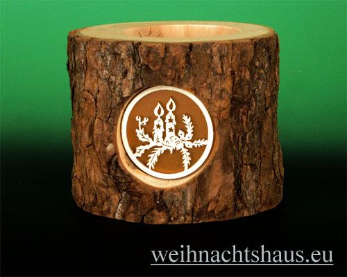 Seiffen Weihnachtshaus - Teelichtleuchter Astholz Kerzen - Bild 1