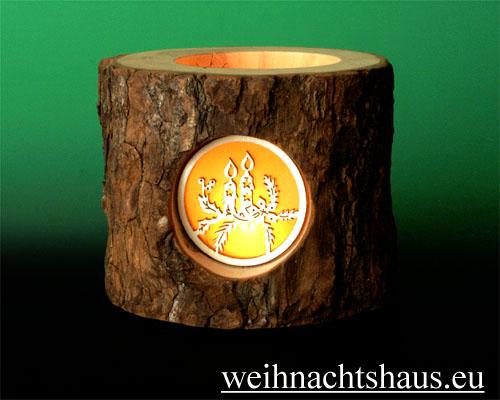 Seiffen Weihnachtshaus - Teelichtleuchter Astholz Kerzen - Bild 2