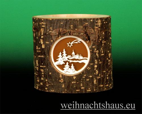Seiffen Weihnachtshaus - Teelichtleuchter Astholz Dorfkirche - Bild 1