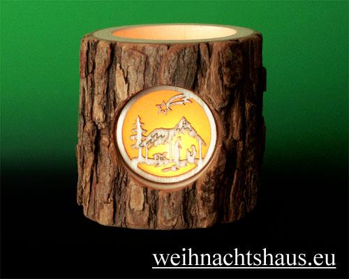 Seiffen Weihnachtshaus - Teelichtleuchter Astholz Christi Geburt - Bild 2