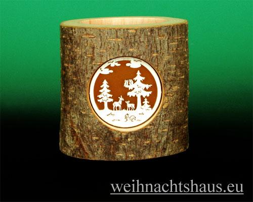 Seiffen Weihnachtshaus - Teelichtleuchter Astholz Waldmotiv - Bild 1
