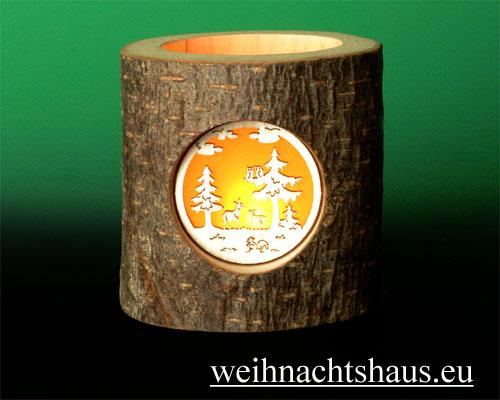 Seiffen Weihnachtshaus - Teelichtleuchter Astholz Waldmotiv - Bild 2