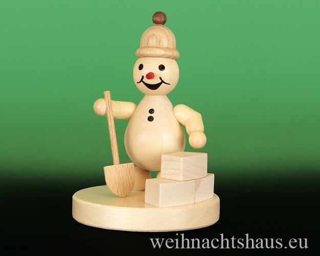 Seiffen Weihnachtshaus - Kugelschneemann natur Iglubauer - Bild 1