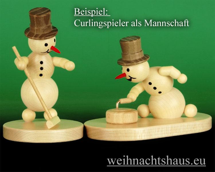 Seiffen Weihnachtshaus - .Kugelschneemann Curling mit Besen Wagner - Bild 3