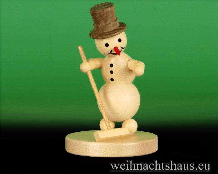 Seiffen Weihnachtshaus - .Kugelschneemann Curling mit Besen Wagner - Bild 1