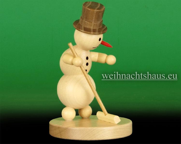 Seiffen Weihnachtshaus - .Kugelschneemann Curling mit Besen Wagner - Bild 2