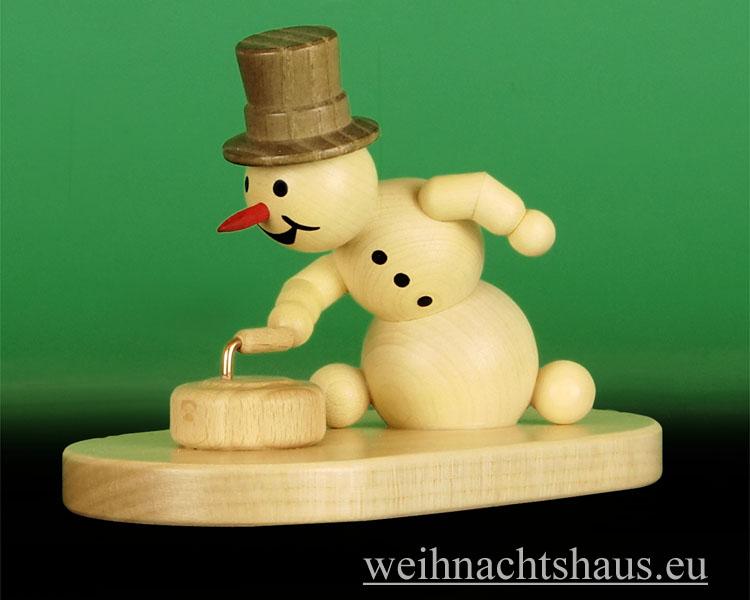 Seiffen Weihnachtshaus - .Kugelschneemann Curling mit Stein Wagner - Bild 1
