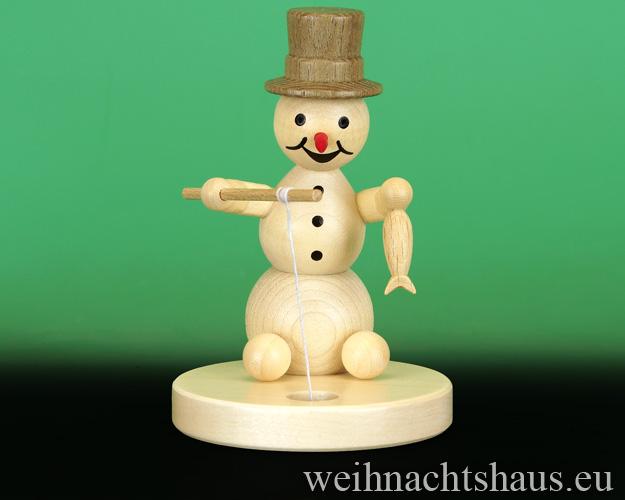Seiffen Weihnachtshaus - . Kugelschneemann natur Eisangler - Bild 1