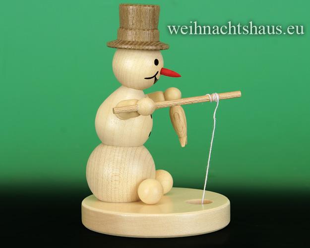 Seiffen Weihnachtshaus - . Kugelschneemann natur Eisangler - Bild 2