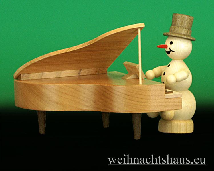 Seiffen Weihnachtshaus - .Kugelschneemannmusikant natur Klavier NEU 2013 - Bild 1