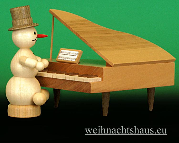 Seiffen Weihnachtshaus - .Kugelschneemannmusikant natur Klavier NEU 2013 - Bild 2