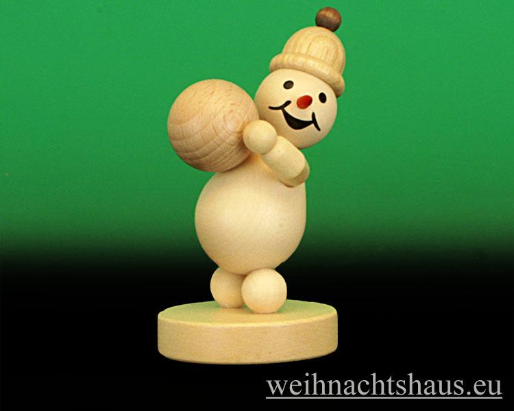Seiffen Weihnachtshaus - .Kugelschneemann natur Junior mit Schneekugel oben - Bild 1