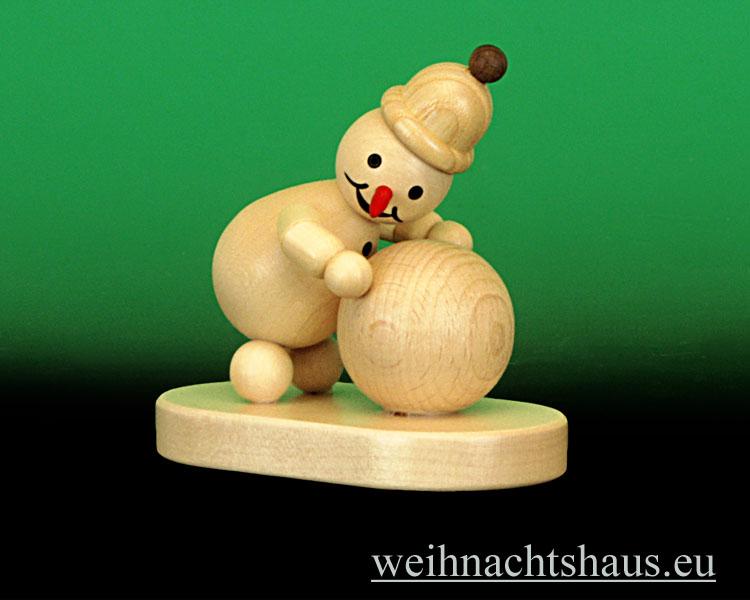 Seiffen Weihnachtshaus - .Kugelschneemann natur Junior mit Schneekugel unten - Bild 1