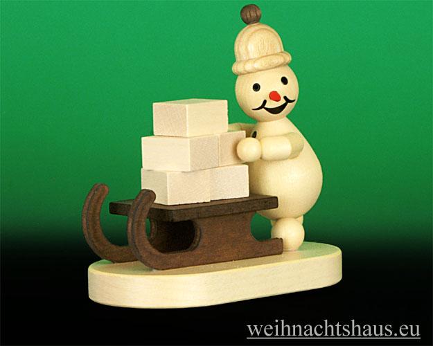Seiffen Weihnachtshaus - Kugelschneemann natur Schlittenschieber - Bild 1