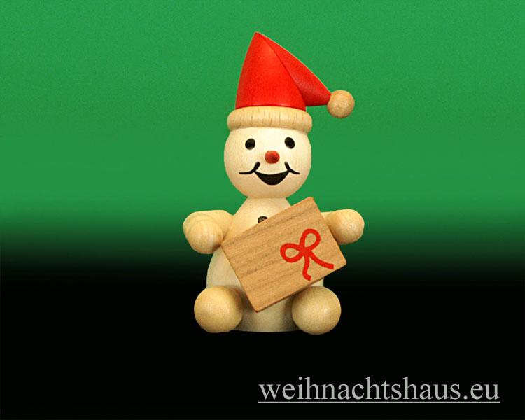 Seiffen Weihnachtshaus - .Kugelschneemann natur Junior mit Roter Mütze sitzend - Bild 1