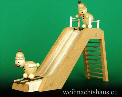 Seiffen Weihnachtshaus - Kugelschneemann Schanze Sprungschanze aus Holz - Bild 2