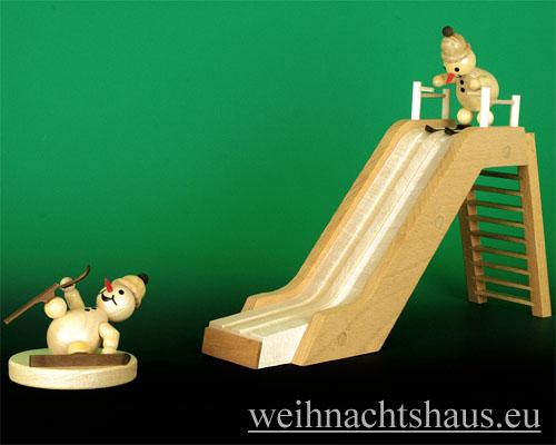 Seiffen Weihnachtshaus - Kugelschneemann Schanze Sprungschanze aus Holz - Bild 3