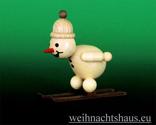Seiffen Weihnachtshaus - Kugelschneemann Schanze Skispringer beim Absprung - Bild 1
