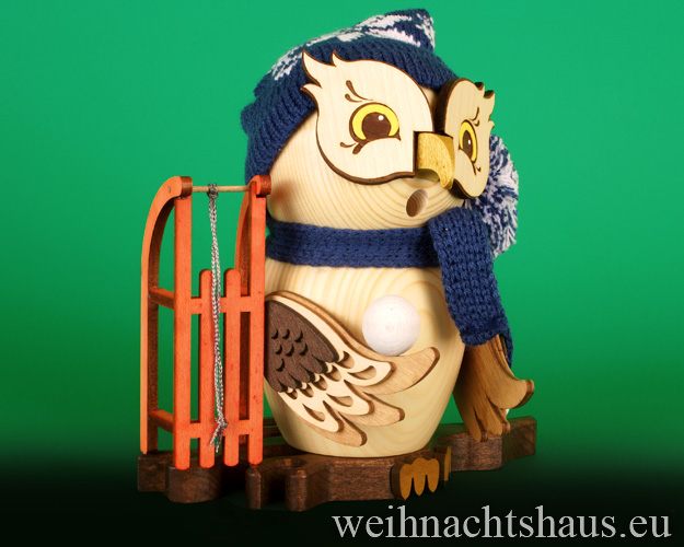 Seiffen Weihnachtshaus - <!--11-->Räuchermann Eule aus Holz Erzgebirge mit Schlitten - Bild 1