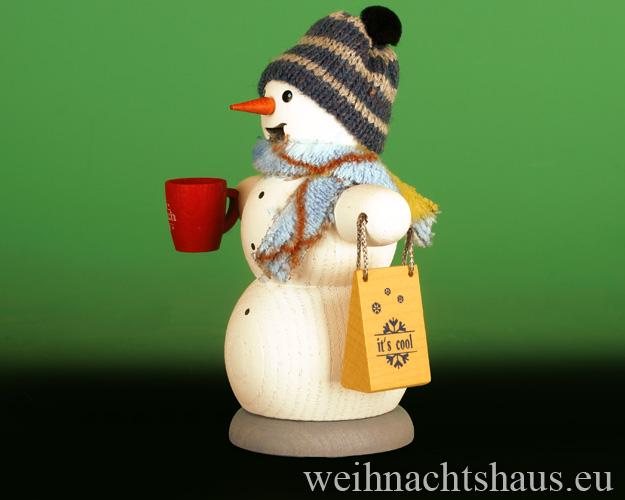Seiffen Weihnachtshaus - <!--13-->Räuchermann Schneemann  mit Glühwein Neu 2020 - Bild 2