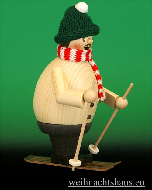 Seiffen Weihnachtshaus - <!--11-->Räuchermann Max Skifahrer mit Ski - Bild 1