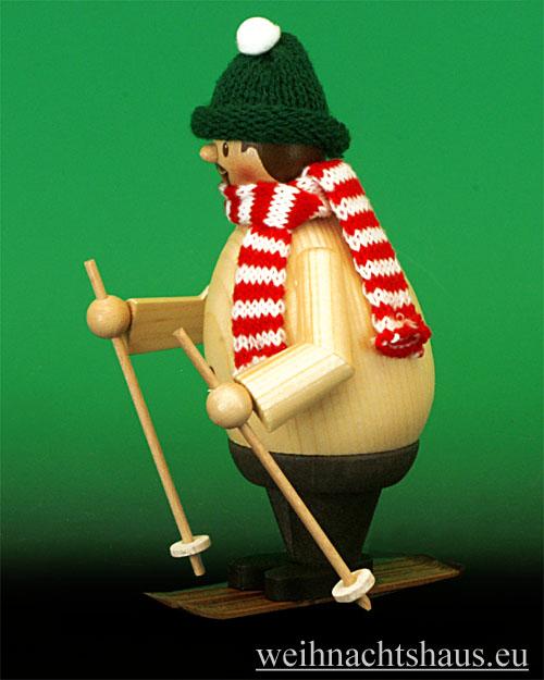 Seiffen Weihnachtshaus - <!--11-->Räuchermann Max Skifahrer mit Ski - Bild 2
