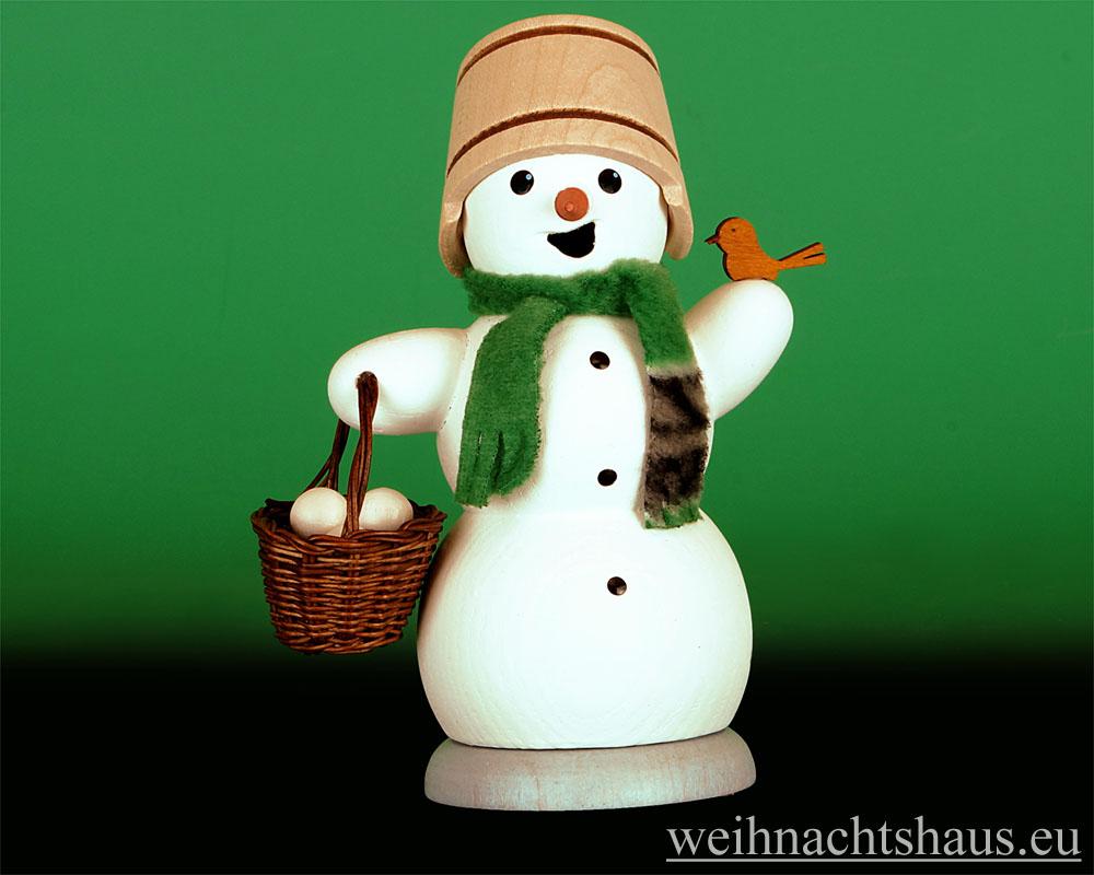 Seiffen Weihnachtshaus - <!--13-->Räuchermann Schneemann mit Schneeballkorb - Bild 1